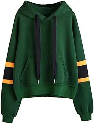 a21cab7ecf0af Zaidern Women Hooded Pullover Teen Girls Solid Color Long Sleeve Hoodie  Sweatshirt Tops Blouse with Pockets