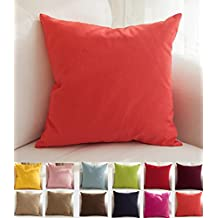 "TangDepot Cotton Solid Throw Pillow Covers, 26"" x 26"" , Coral"