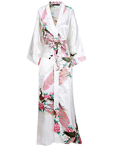 BABEYOND Women's Kimono Robe Long Robes with Peacock and Blossoms Printed Kimono Outfit (White) (Japan Robe)