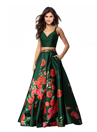 - Lily Wedding Womens 2 Piece Floral Printed Prom Dresses 2018 Long Formal Evening Ball Gowns with Pockets GD32 Size 8 Emerald Green