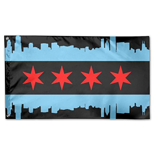 UDSNIS Chicago City Flag Garden Flag 3 X 5 Flag For Yard Dec