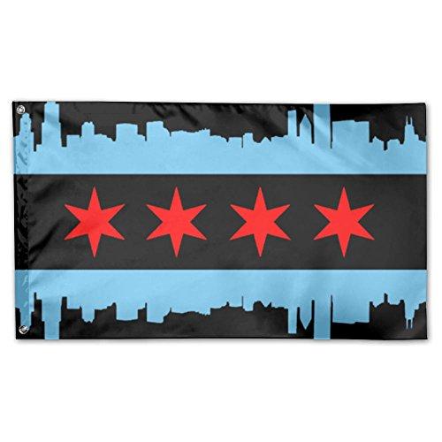 (UDSNIS Chicago City Flag Garden Flag 3 X 5 Flag For Yard Decorative Banner)