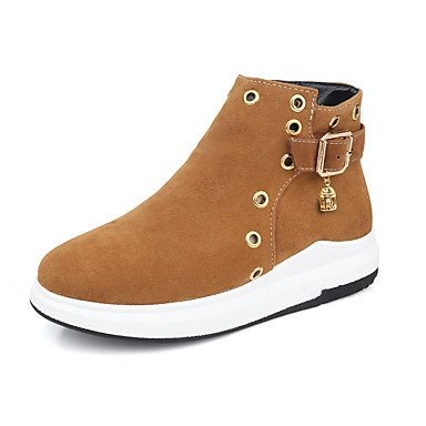 RTRY Women's Shoes Nubuck leather Fall Winter Fashion Boots Bootie Boots Platform Round Toe Booties/Ankle Boots Beading Imitation Pearl Buckle US10.5 / EU42 / UK8.5 / CN43 1FcP77I37