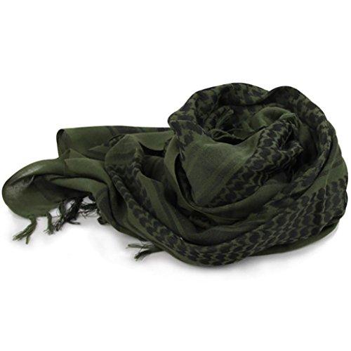 - Auwer® 100% Cotton Military Scarves Arab Tactical Desert Army Keffiyeh Scarf Shawl For Men (Army Green)