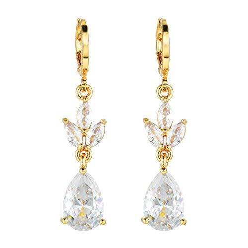 Women Sparkling Crystal CZ Teardrop Gold Color Dangle Drop Earrings Jewelry Wedding Gifts