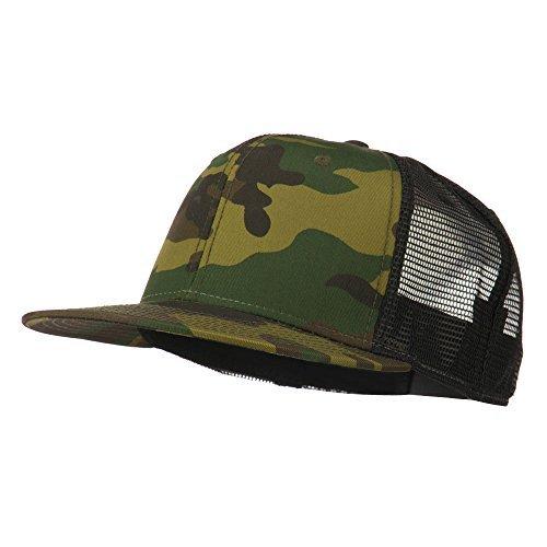 Camo Trucker Hat - Camouflage Cotton Flat Bill Trucker Cap - Camo Black OSFM