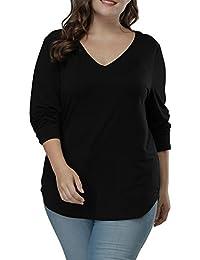 Women's Long Sleeve T Shirts Asymmetric Hem Plus Size...