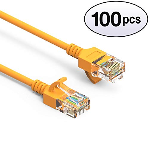 (GOWOS Cat6a Slim UTP Ethernet Cable (100-Pack - 0.5 Feet) Yellow - 28AWG Network Cable with Gold Plated RJ45 Molded/Booted Connector - 10 Gigabit/Sec High Speed LAN Internet/Patch Cable - 550MHz)