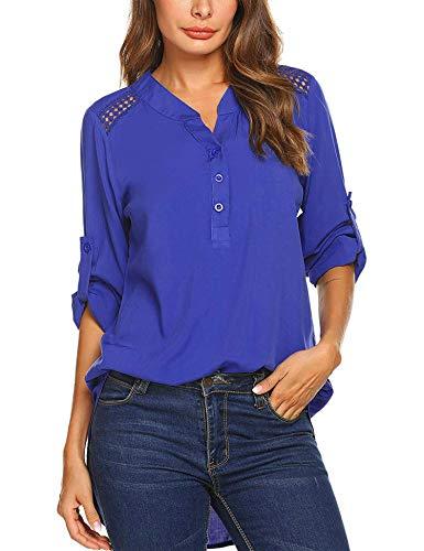 Teewanna Women's Casual Long Sleeve Solid Chiffon Blouse V-Neck T-Shirt Tunic Tops (Blue, XXL)