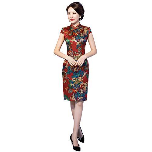 Shanghai Story Knee Length Cheongsam Short Sleeve Qipao Chinsse Oriental Dress 4XL 41