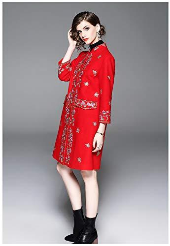 Vintage Signore Cappotto Vento Lungo Sciolto Nouler Maniche Ricamo A Giacca Di Nuovo Lunghe Rosso Inverno Cinese E Lana Autunno wZxZRnXq