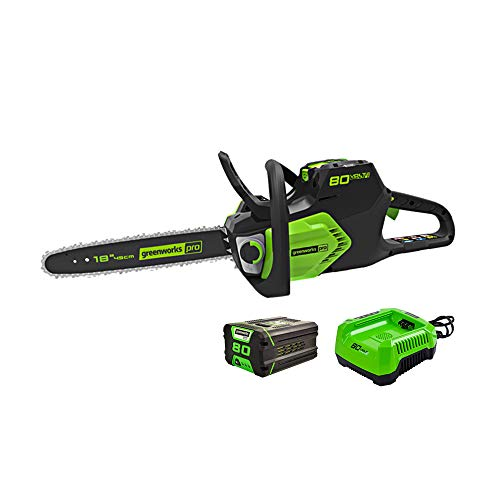 Greenworks 18-Inch 80V Cordless Chainsaw with Hardcase/Extra Bar and Chain Oil, 2.0Ah Battery and Charger Included, CS80L210