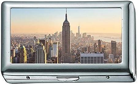 Rascacielos de la Ciudad de Nueva York Downtown Evening Time ez Cigarrillo ID de Acero Inoxidable o Estuche de Cigarrillos