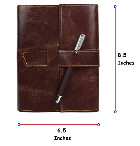RUSTIC TOWN Refillable Handmade Vintage Antique Looking Genuine Leather Journal Diary Notebook for Men Women Gift for Him Her