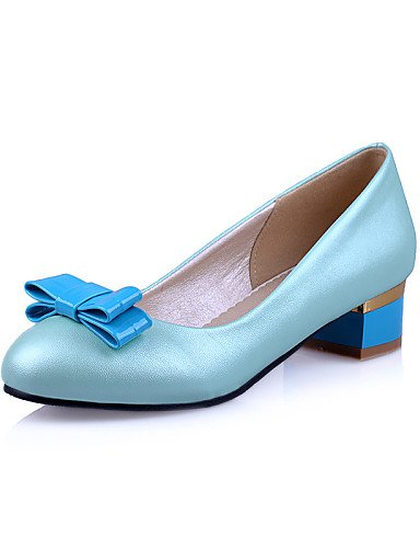 GGX/Damen Schuhe PU Fall Heels/Office & Karriere/Casual geschoben Ferse Schleife/Applikation blau/pink/weiß pink-us8.5 / eu39 / uk6.5 / cn40