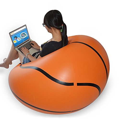 Inflatable Chair Sofa Bean Bags Ball Football Portable Living Room (basketball) from Angelwing