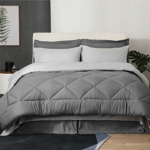 Bedsure 8 Pieces Queen Size Bed in a Bag, Dark Grey/Light Grey - Soft Microfiber, Reversible Bed Comforter Set (1 Comforter, 2 Pillow Shams, 1 Flat Sheet, 1 Fitted Sheet, 1 Bed Skirt, 2 Pillowcases)