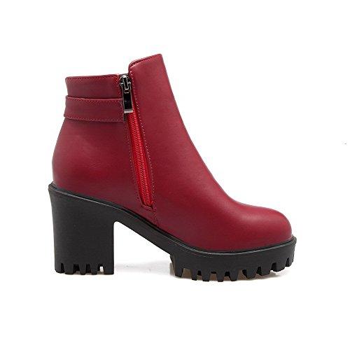 AgooLar Damen Reißverschluss Hoher Absatz Kurz Velours Rein Rund Zehe Stiefel, Rot, 37