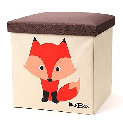 little Babo Faltbare Aufbewahrungsbox Kinder - groß & stabil zum sitzen -  Spielzeug-Kiste mit Deckel - Aufbewahrung im Kinderzimmer - Regal-Korb - ...