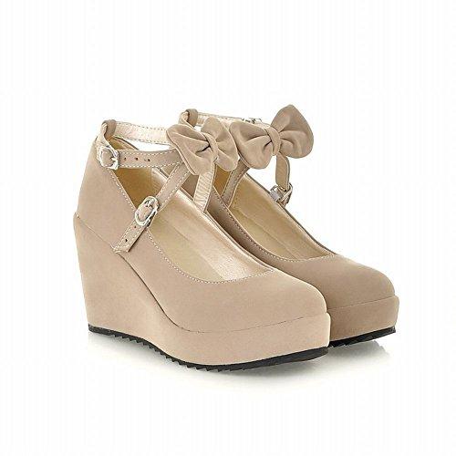 Carolbar Carol Shoes Women's Sweet High Heel Wedge Bows Buckle Court Shoes Beige YpVjXEyuU