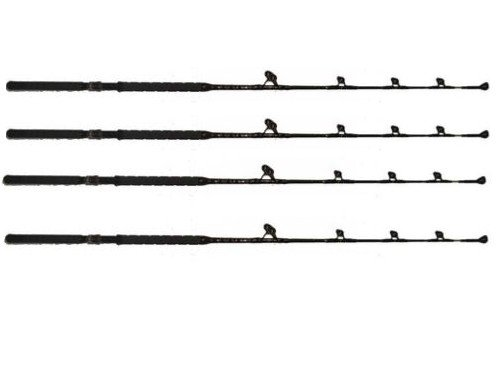 Saltwater Fishing Rods Custom Blue Marlin Tournament Edition Wind on Leader Guides 140 to 160 Pound Class Poles Trolling Four Pack