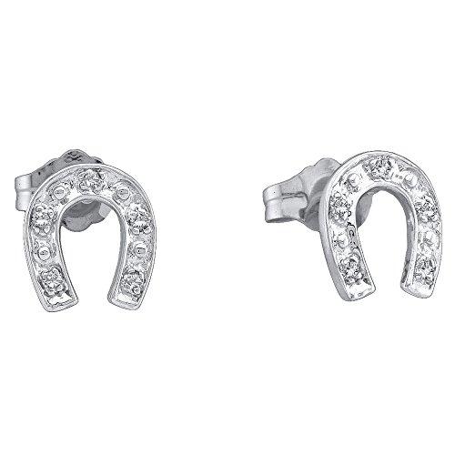 ns Round Diamond Lucky Horseshoe Screwback Earrings 1/20 Cttw (Silver Horseshoe Lady Ring)
