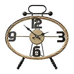 MODE HOME Vintage Oval Metal Table Clock with Rope Farmhouse Style Desk Clock