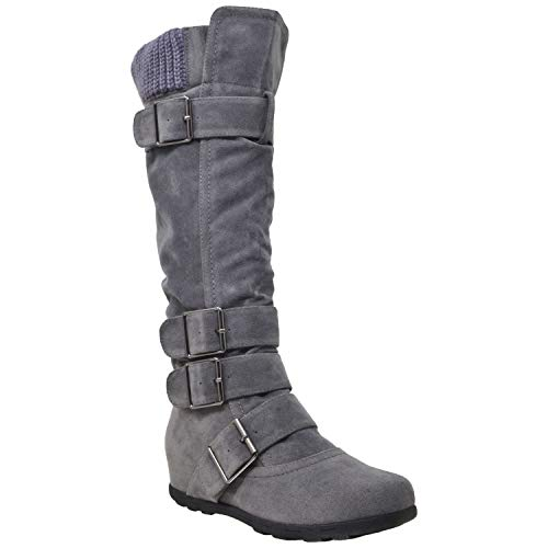 Generation Y Women's Knee High Mid Calf Boots Ruched Suede Knitted Calf Buckles Rubber Sole GY-WB-233 Gray SZ 7