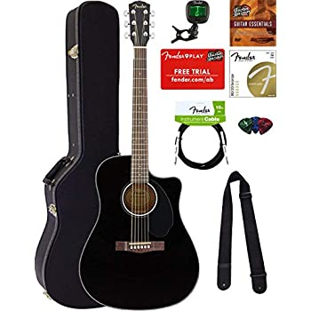 02e37f09ad Fender CD-60SCE Dreadnought Acoustic-Electric Guitar - Black Bundle with  Hard Case, Tuner, Strap, Strings, Picks, Instructional DVD, Polishing Cloth