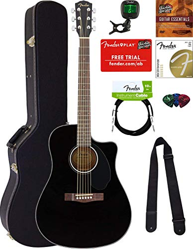 Fender CD-60SCE Dreadnought Acoustic-Electric Guitar - Black Bundle with Hard Case, Tuner, Strap, Strings, Picks, Instructional DVD, Polishing Cloth Black Cutaway Acoustic Guitar