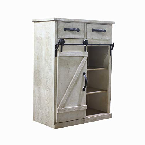 White Farmhouse Sliding Door Cabinet: Paris Loft Rustic White Disstressed Wood Storage Cabinet