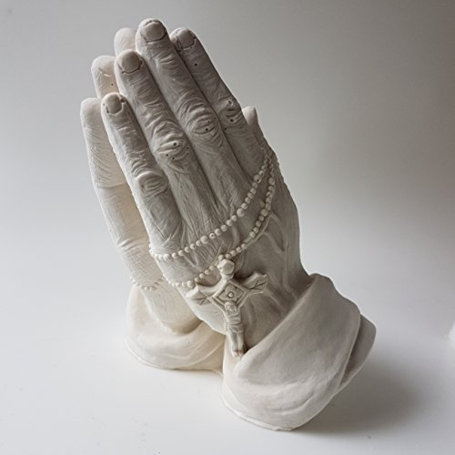 egbhouse, Praying Hands Statue - Plaster blended with stone powder - Oriental Statue Concrete
