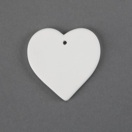 Duncan 31516 Small 3.25 Inch Heart Ornament, Case of 24 Pieces, Unfinished Ceramic Bisque, With How To Paint Your Own Pottery Booklet