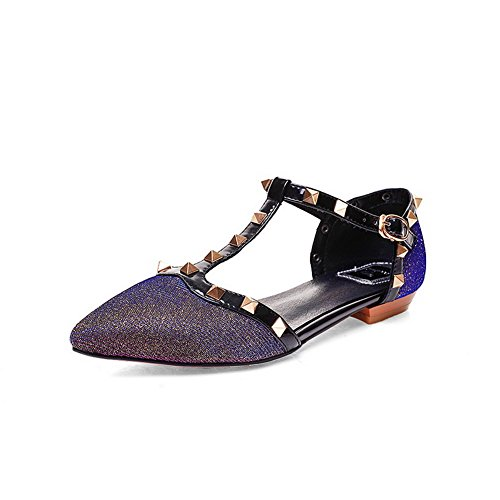 Low with Cow Pinker Womens Toe Winkle Purple Leather AllhqFashion Closed Heels Assorted Color Sandals tqSvwvXd