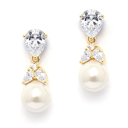 Mariell 14K Gold Plated Glass-Based Round Pearl Drop Earrings with CZ Pearl - Ideal Bridal or Formal Glam