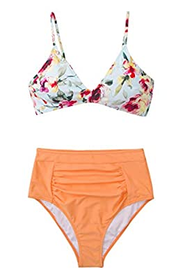 CUPSHE Women's Floral Orange Crush High Waisted Bikini