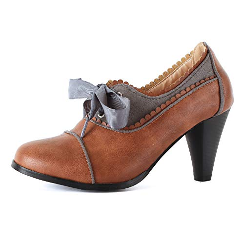 Guilty Shoes - Classic Retro Two Tone Embroidery Wing Tip Lace Up Kitten Heel Pump Oxfords Shoes Oxfords, CognacGrey, 7.5 (B) M US