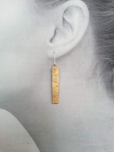 Gold Bar Stick Earring Textured Clay dangle earrings Art Clay Dangle Earrings