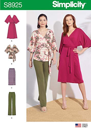 Simplicity S8925 Misses' Knit Pants, Skirt, Wrap Dress and Wrap Top Sizes 4-26 Sewing Pattern