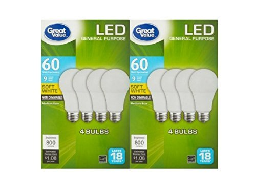 Great Value Pack (Great Value LED Light Bulb 9Watts 60Watts Equivalent Soft White Pack of Two 8 Counts)