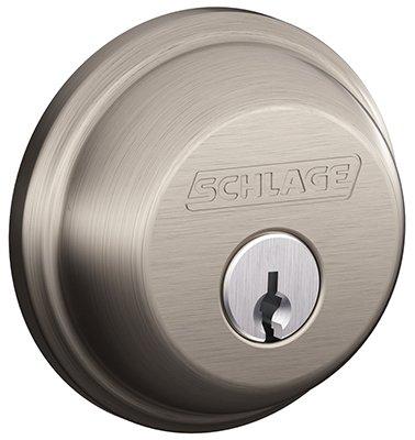 043156171163 - Schlage B360NV619 Single-Cylinder Deadbolt, Satin Nickel carousel main 0