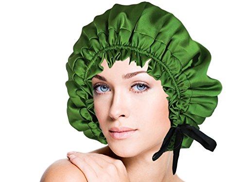 vangobeauty Handmade in USA Adjustable Double Layers Italian Silk Sleep Cap Majestic Lusty Green by vangobeauty