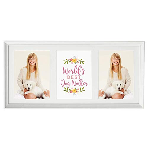 (Andaz Press 20.5-Inch Framed Collage Picture Wall Art Gift, World's Best Dog Walker, Floral, 1-Pack, Christmas Birthday, Includes Multi Photo White Frame to Display Three 5x7-Inch Photos or Art)