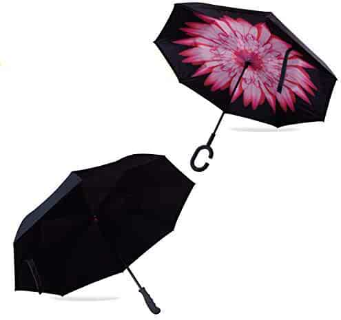 67af4eb1ea7db Evridwear Reverse Folding Double Layer Inverted Umbrella, Self-Standing,  C-Shaped and