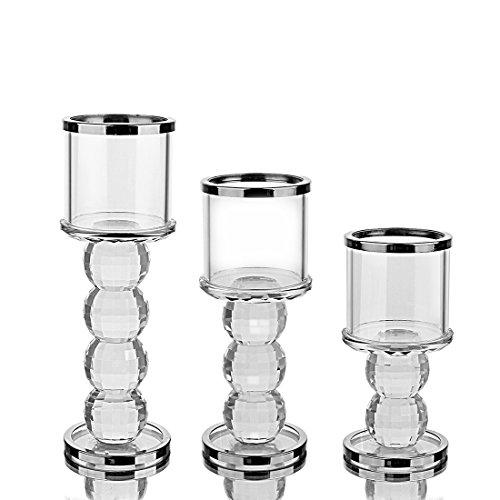 Votive Crystal Candle Holder Pillar Candlesticks - Tealight Holders,Set of 3