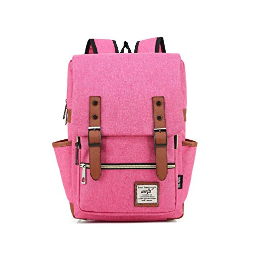 UPSUN(WenJie) Vintage Classy Chic Canvas Laptop School Travel Backpack Work Knapsack(S) - Pink