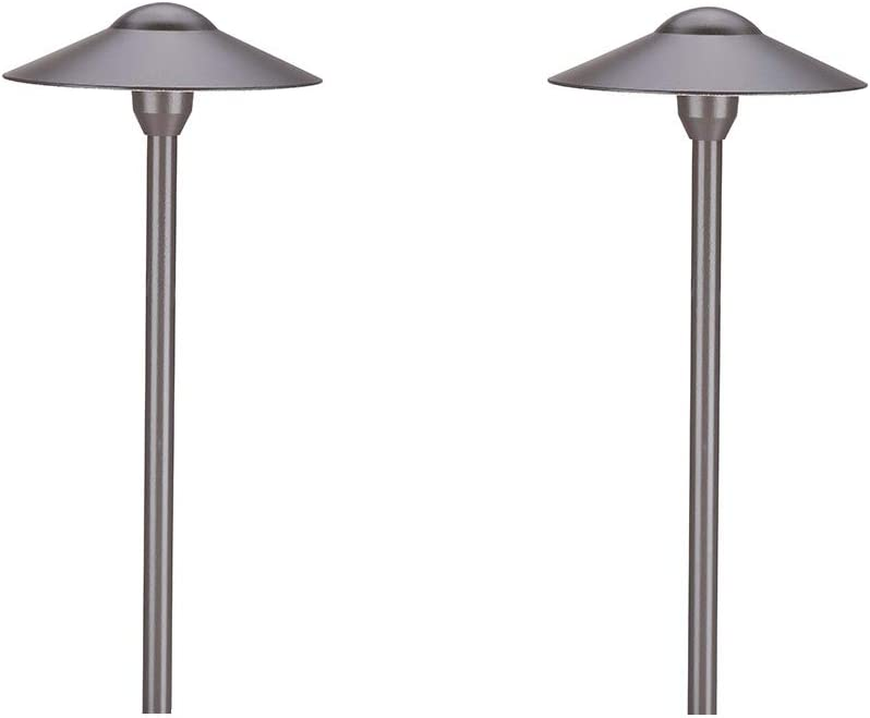 Amazon Com Arrownine Aluminum Cast Low Voltage Outdoor Path Lighting Walkway Landscape Lights Included Ground Spike Free Bi Pin G4 Led Bulb Warm White 2 Pack Bronze Finish Home Improvement