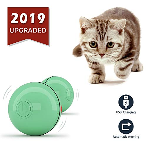 ZJING Smart Interactive Cat Toy Ball – Newest Version 360 Degree Self Rotating Ball, USB Rechargeable Wicked Ball, Build…