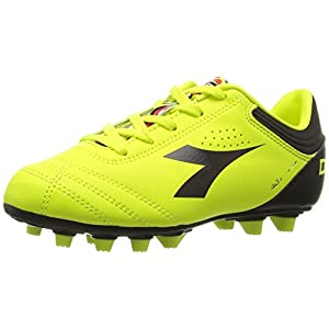 Diadora Italica 3 MD Jr Soccer Shoe (Little Kid/Big Kid), Fluo/Black, 2.5 M US Little Kid