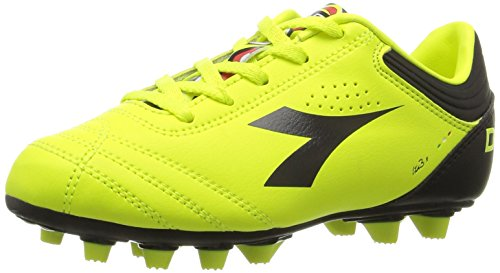 Diadora Italica 3 MD JR Soccer Shoe , Fluo/Black, 13 M US Li